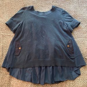 Short Sleeve Pleated Anthropologie Sweater Top